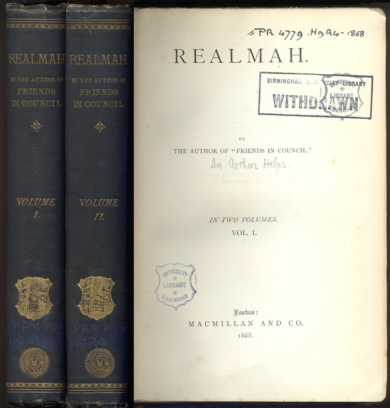 "REALMAH. By the Author of ""Friends in Council"". In Two Volumes. Arthur HELPS."