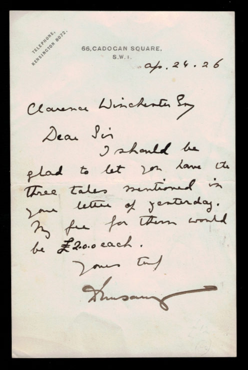 AUTOGRAPH LETTER SIGNED [ALS]. Lord Dunsany to Clarence Winchester. April 24, 1926. Lord DUNSANY.