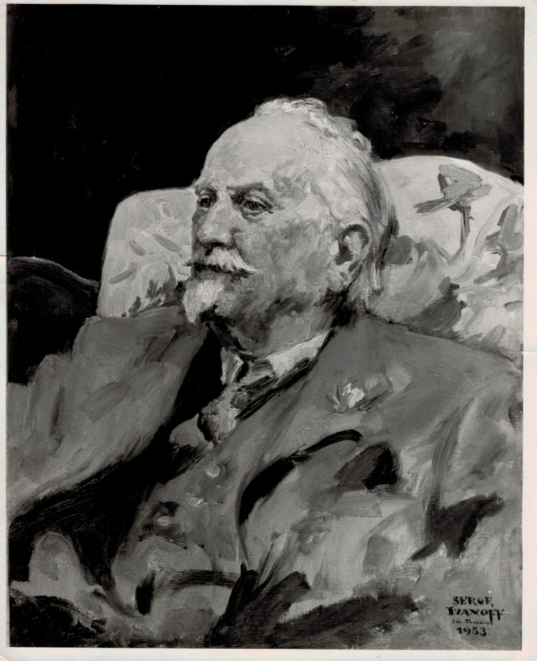 ORIGINAL BLACK & WHITE PHOTOGRAPH OF A PORTRAIT PAINTING OF LORD DUNSANY by Serge Ivanoff, San Francisco 1953. Lord DUNSANY.
