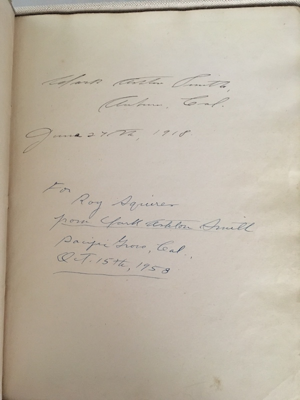 ODES AND SONNETS. The Author's Own Copy of His Second Book. Clark Ashton SMITH.