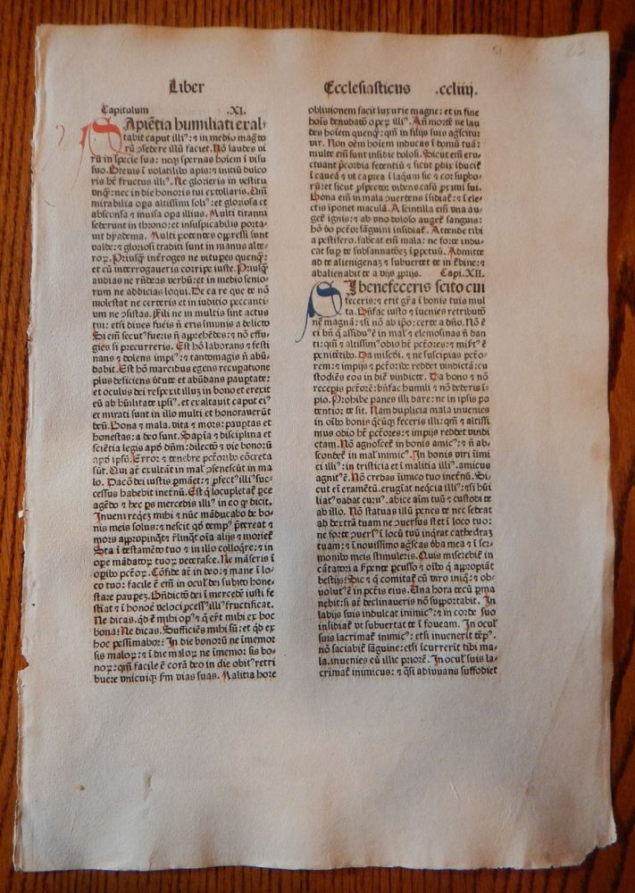 THE BOOK OF ECCLESIASTICUS. A LEAF FROM A BIBLIA LATINA, PRINTED BY ANTON KOBERGER IN NUREMBERG IN 1479. EARLY PRINTING - INCUNABULA.