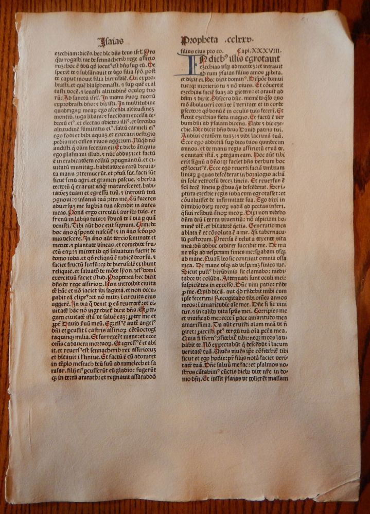 THE BOOK OF ISAIAH. A LEAF FROM A BIBLIA LATINA, PRINTED BY ANTON KOBERGER IN NUREMBERG IN 1479. EARLY PRINTING - INCUNABULA.