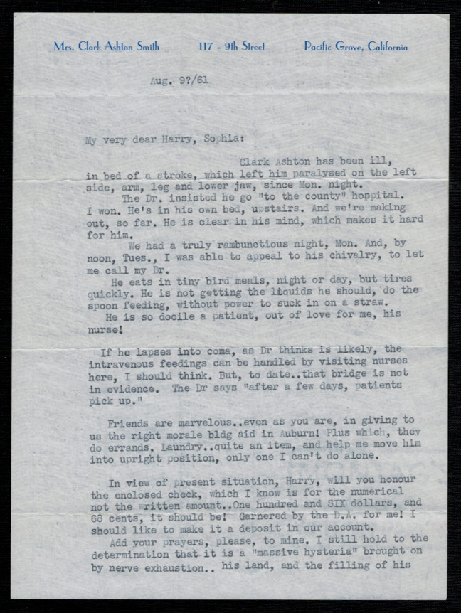 TYPED LETTER FROM MRS. CLARK ASHTON SMITH Dated Five Days Before the Author's Death and Detailing His Medical Condition. Clark Ashton SMITH.