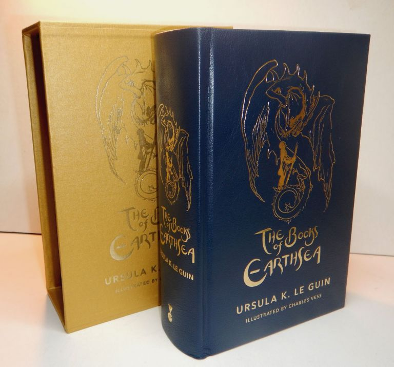 "THE BOOKS OF EARTHSEA. Illustrated by Charles Vess. Deluxe Leather Edition, One of Three Copies marked ""PC"" [Publisher's Copy]. Ursula K. LE GUIN."