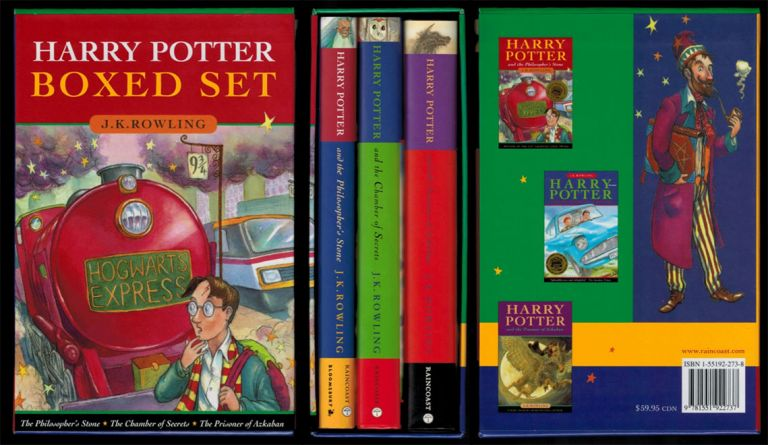 HARRY POTTER BOXED SET [comprising] HARRY POTTER AND THE PHILOSOPHER'S STONE [along with] HARRY POTTER AND THE CHAMBER OF SECRETS [along with] HARRY POTTER AND THE PRISONER OF AZKABAN. Early Canadian Hardcover editions. J. K. ROWLING.
