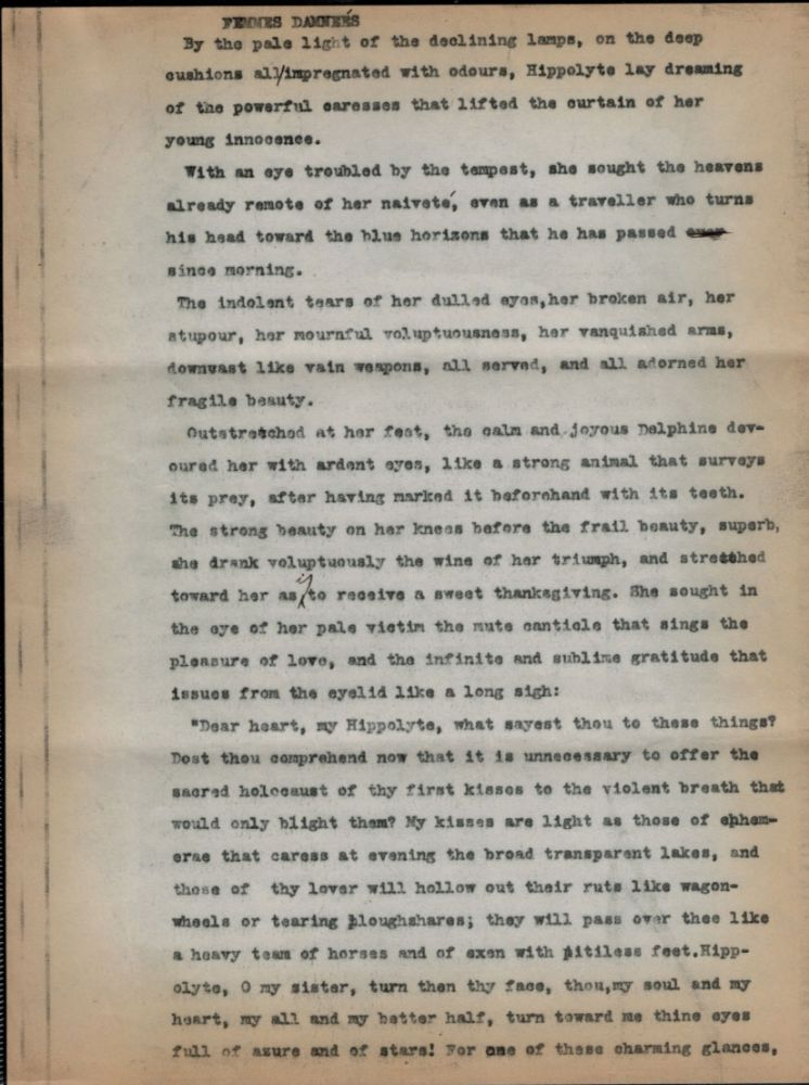 FEMMES DAMNEÉS. THREE-PAGE TYPED MANUSCRIPT, WITH CORRECTIONS BY HAND. Clark Ashton SMITH.