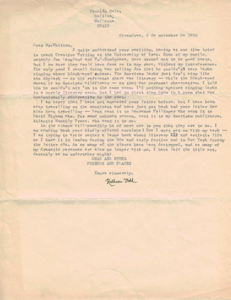 TYPED LETTER SIGNED. Ruthven TODD.