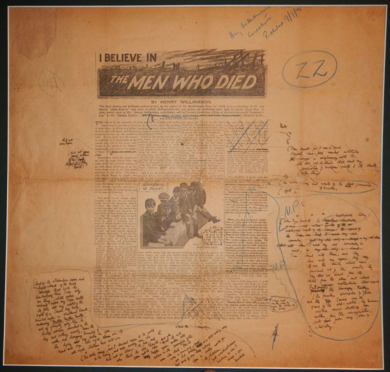 I BELIEVE IN THE MEN WHO DIED. The Author's Heavily Corrected & Re-Written Proof / Tear Sheet from the Original 1928 Publication. Henry WILLIAMSON.