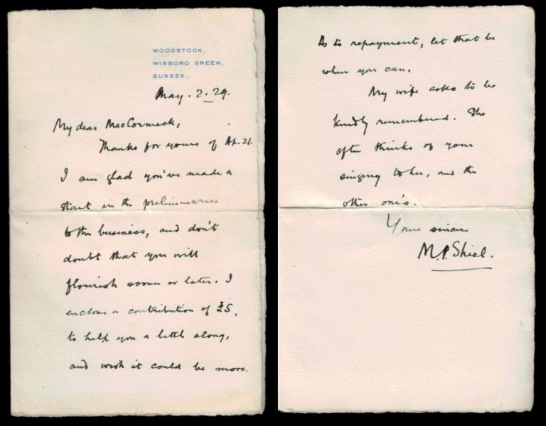 "AUTOGRAPH LETTER SIGNED [ALS] to ""My dear MacCormack"", two pages on small folded octavo sheet with ""Woodstock"" return address, dated May 2, 1929, signed ""M. P. Shiel."" M. P. . VISIAK SHIEL, E. H., Matthew Phipps."