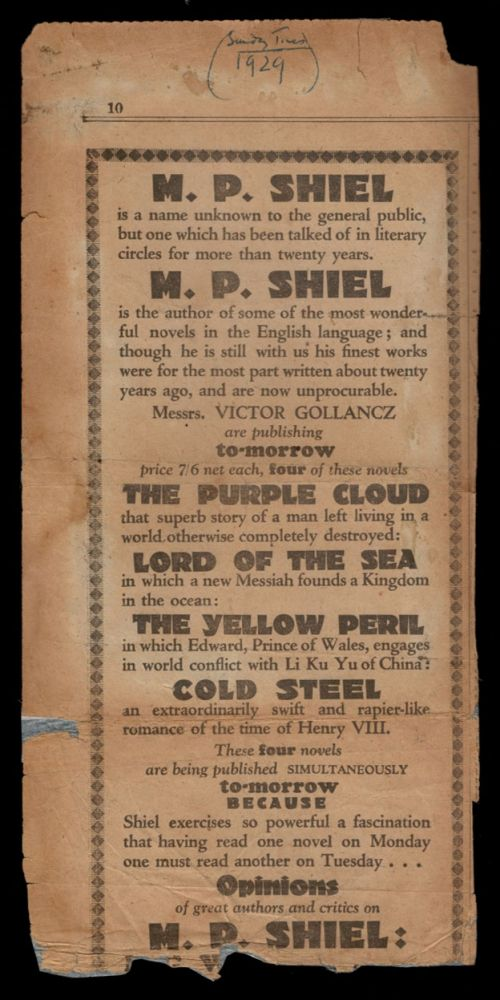ADVERTISING FOR THE 1929 GOLLANCZ RE-ISSUES OF THE PURPLE CLOUD, LORD OF THE SEA, THE YELLOW PERIL & COLD STEEL; From THE SUNDAY TIMES, 1929. M. P. SHIEL, Matthew Phipps.