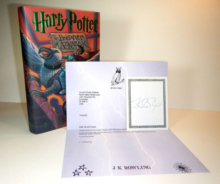 """HARRY POTTER AND THE PRISONER OF AZKABAN. Prize Copy of the First American Edition, with a Letter from Rowling sent """"By Owl Post"""" and a Signed Bookplate. ROWLING. J. K."""