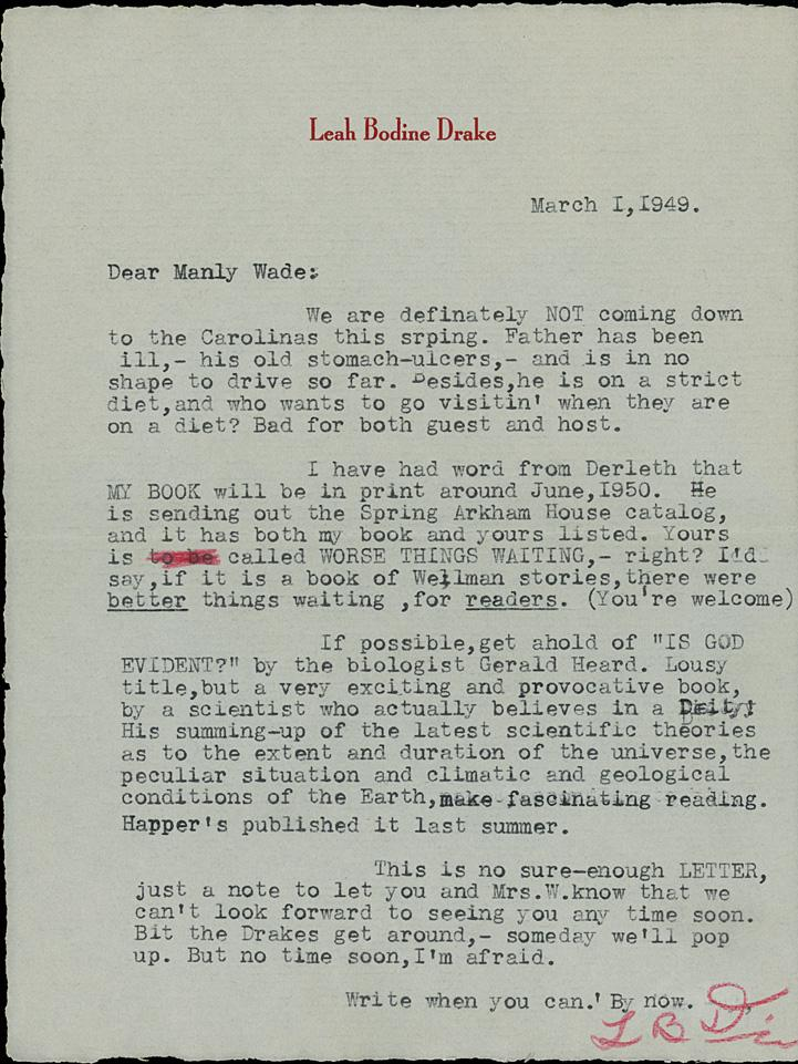 """TYPED LETTER SIGNED, 1949, to Manly Wade Wellman, along with the Typescript for the poem 'LEONARDO BEFORE HIS CANVAS', Inscribed """"For Manly Wade from Leah"""" Leah Bodine DRAKE."""
