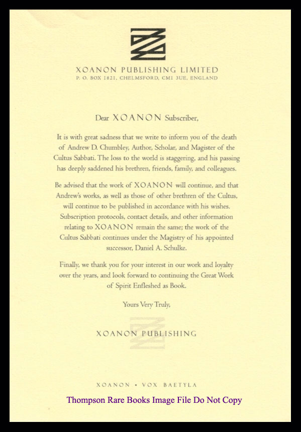 ANNOUNCEMENT OF THE DEATH OF ANDREW D. CHUMBLEY. XOANON PUBLISHING.