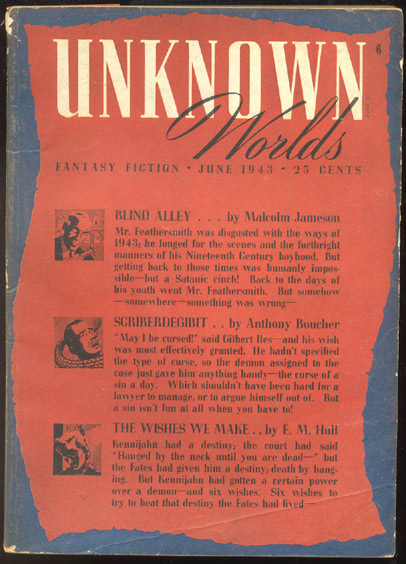 UNKNOWN magazine [a.k.a. UNKNOWN WORLDS], Vol 7, No 1, June, 1943 issue. Vol 7 UNKNOWN magazine, 1943 issue, June, No 1, a k. a. UNKNOWN WORLDS.