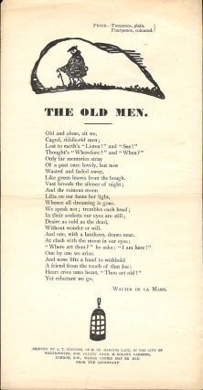 THE OLD MEN. Broadside Poem. Walter DE LA MARE