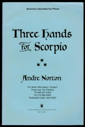 THREE HANDS FOR SCORPIO. Uncorrected Proof Copy. Andre NORTON