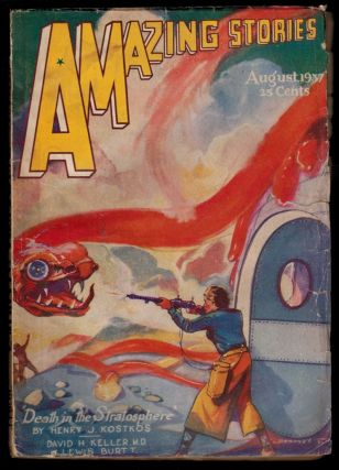 AMAZING STORIES magazine, Vol 11, No. 4, August, 1937 issue. Vol 11 AMAZING STORIES magazine,...