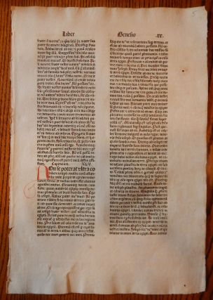 THE BOOK OF GENESIS. A LEAF FROM A BIBLIA LATINA, PRINTED BY ANTON KOBERGER IN NUREMBERG IN 1479. EARLY PRINTING - INCUNABULA.
