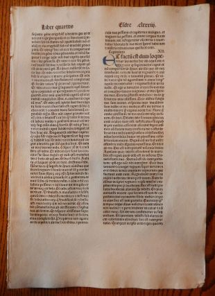 THE BOOK OF 2 EDRAS. A LEAF FROM A BIBLIA LATINA, PRINTED BY ANTON KOBERGER IN NUREMBERG IN 1479....