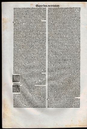 A LEAF FROM THE OPUSCULA OF SAINT THOMAS AQUINAS WITH THREE WOODCUT INITIALS, PRINTED IN VENICE IN 1498.