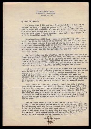 TYPED LETTER SIGNED To Adolphe De Castro, Fellow Weird Tales Author and H.P. Lovecraft Collaborator, Concerning the Death of Lovecraft. Dated March 31, 1937.