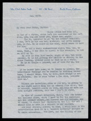 TYPED LETTER FROM MRS. CLARK ASHTON SMITH Dated Five Days Before the Author's Death and Detailing...