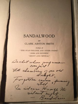 SANDALWOOD And Other Poems. The Author's Own Copy of His Fourth Book.