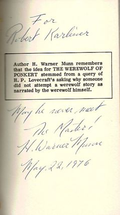 THE WEREWOLF OF PONKERT. Inscribed by the Author.