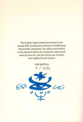 LAPIS LAMIIS, The Stone of the Witches. Deluxe Issue, one of 31 Copies Sigilized by the Author.