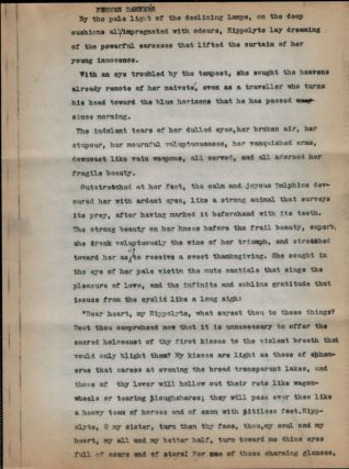 FEMMES DAMNEÉS. THREE-PAGE TYPED MANUSCRIPT, WITH CORRECTIONS BY HAND. Clark Ashton SMITH
