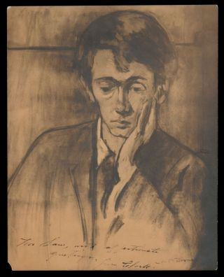 PORTRAIT OF CLARK ASHTON SMITH by Artist ANNE BREMER; INSCRIBED AND SIGNED BY CLARK ASHTON SMITH...