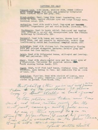 CARVINGS FOR SALE. ONE-PAGE TYPED MANUSCRIPT, WITH A LONG MANUSCRIPT NOTE, SIGNED. Clark Ashton...