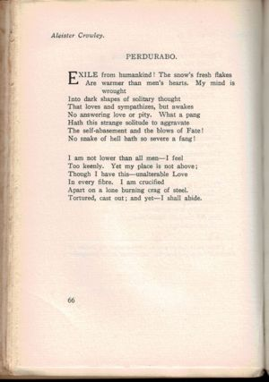 TEN POEMS by Aleister Crowley. VARIOUSLY TITLED [in] CAMBRIDGE POETS 1900 - 1913. An Anthology. Chosen by Aelfrida Tillyard.