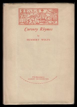 CURSORY RHYMES. Illustrated by Albert Rutherston. Humbert WOLFE