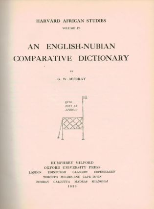 AN ENGLISH-NUBIAN COMPARATIVE DICTIONARY.