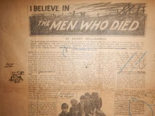 I BELIEVE IN THE MEN WHO DIED. The Author's Heavily Corrected & Re-Written Proof / Tear Sheet from the Original 1928 Publication.