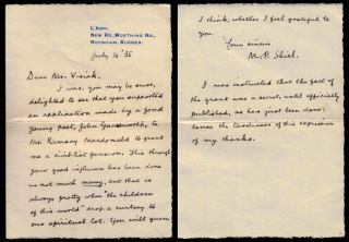 AUTOGRAPH LETTER SIGNED [ALS] to E.H. Visiak, two pages on small folded octavo sheet with...