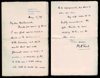 "AUTOGRAPH LETTER SIGNED [ALS] to ""My dear MacCormack"", two pages on small folded octavo sheet..."