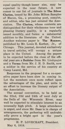 PRESIDENT'S MESSAGE [in] THE UNITED AMATEUR; Official Organ of the United Amateur Press Association, Volume XVII, Number 5, May, 1918.