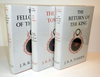 THE LORD OF THE RINGS comprising THE FELLOWSHIP OF THE RING [with] THE TWO TOWERS [with] THE RETURN OF THE KING. Three Volumes. First Editions, Early Impressions.