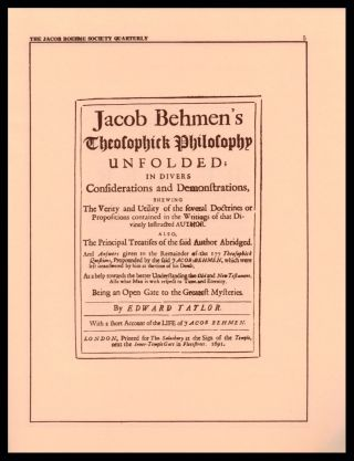 THE JACOB BOEHME SOCIETY QUARTERLY. 16 issues (of 19).