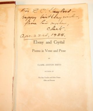 EBONY AND CRYSTAL. A Family Copy, Inscribed by the Author to his Uncle.
