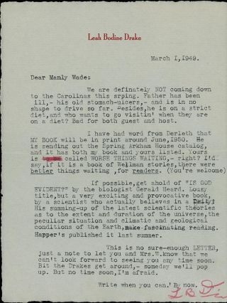 TYPED LETTER SIGNED, 1949, to Manly Wade Wellman, along with the Typescript for the poem...
