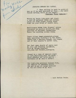 """TYPED LETTER SIGNED, 1949, to Manly Wade Wellman, along with the Typescript for the poem 'LEONARDO BEFORE HIS CANVAS', Inscribed """"For Manly Wade from Leah""""."""