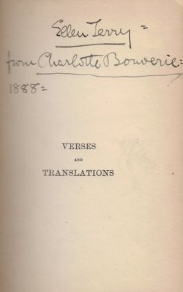 VERSES AND TRANSLATIONS by C.B.S. Charles Stuart CALVERLEY, Ellen TERRY, George Augustus SALA.