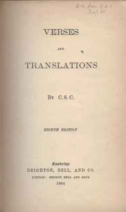 VERSES AND TRANSLATIONS by C.B.S.